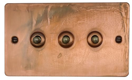 G&H FTC283 Flat Plate Tarnished Copper 3 Gang 1 or 2 Way Toggle Light Switch